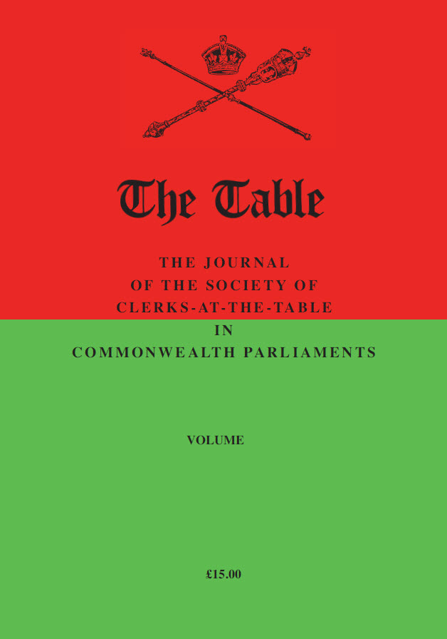 The Table (cover page) - The Journal of the Society of Clerks-at-the-Table in Commonwealth Parliaments